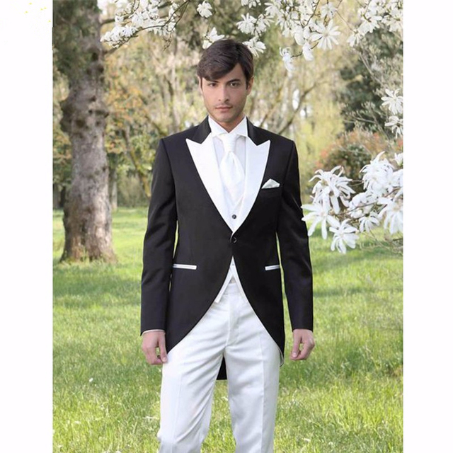 2017 Italian Morning Style Gentleman Suit Black And White Groom ...