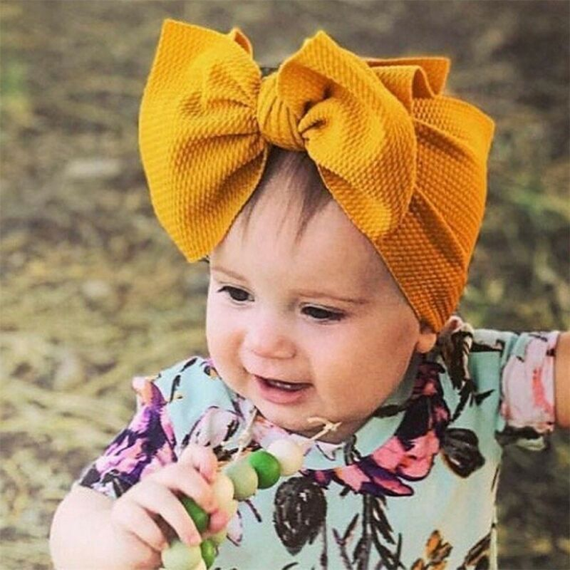 Elastic Big Bow Baby Headband Solid Top Knotted Wide Headbands Over Sized Bow Hair Turban Newborn Head Band Girl Large Hair Bows