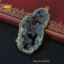 Fashion Natural Druzy Pendant Necklce Quartz Druzy Jewelry for Women Health Care Energy Necklace Pendant YRF02