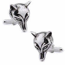 Brand Hawson Fashionable Jewelry Matel Animal Cuff links Fox's Head Shirt Cufflinks