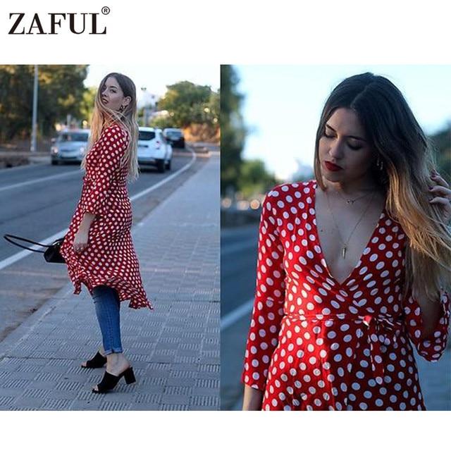 fb1c797abc0 ZAFUL Brand Wrap Red Polka Dot Maxi Dress Women Vintage Robe Long Sexy V  Neck 3