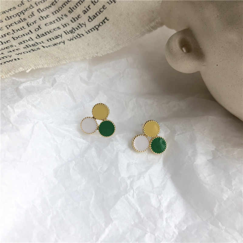 New Fashion S925 Silver Needle Minimalist Interesting Contrast Color Geometry Round Dripping Oil Stud Earrings For Women Jewelry