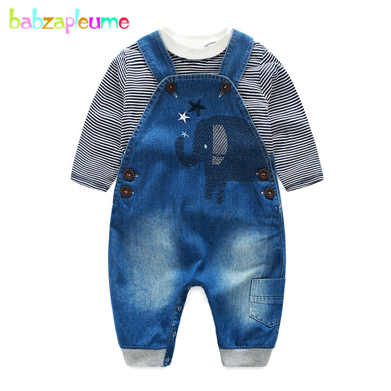 2Piece/3-24Months/Spring Autumn Newborn Baby Outfit Boys Clothes Suits Cotton T-shirt+Denim Overalls Infant Clothing Sets BC1227 2pcs baby kids girls rabbit bunny green cotton t shirt tops dots denim bib overalls skirts outfit clothes 1 5y
