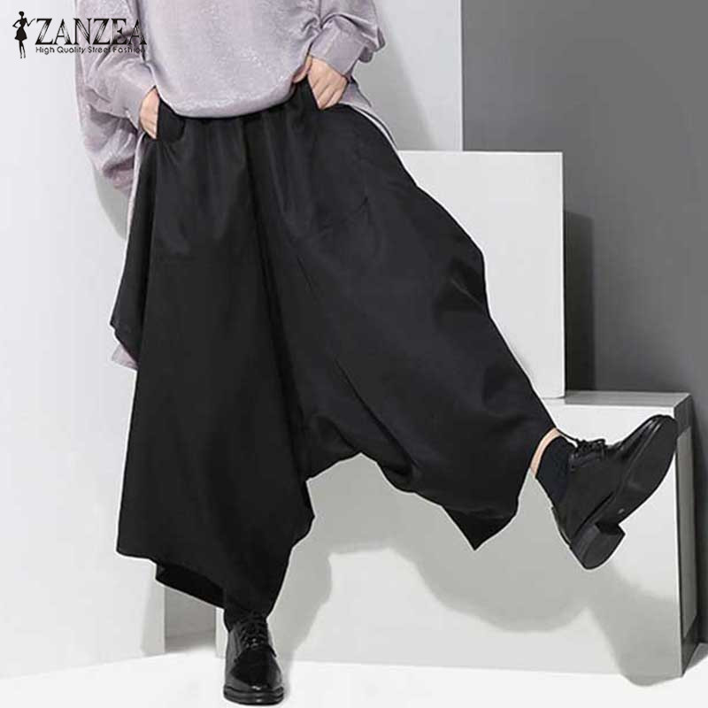 ZANZEA Women 2017 Autumn Casual Loose   Wide     Leg     Pants   Elastic Waist Pockets Irregular Trousers Plus Size Ankle-length Bottoms