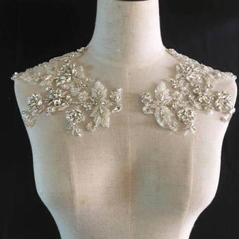 Rhinestone bodice applique, crystal applique, crystal bodice applique for wedding dress, heavy bead bodice applique ZL5# фото