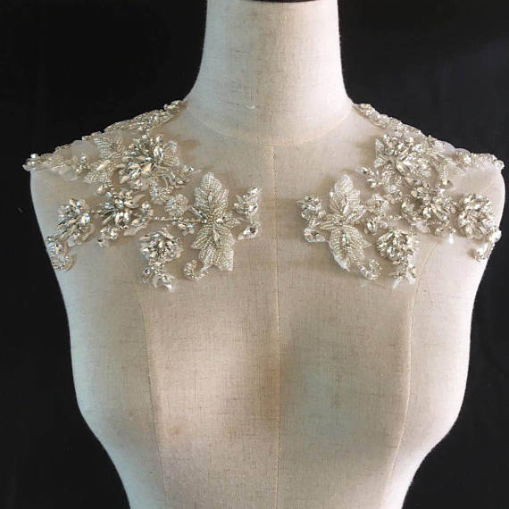 Rhinestone bodice applique, crystal applique, crystal bodice applique for wedding dress, heavy bead bodice applique ZL5#