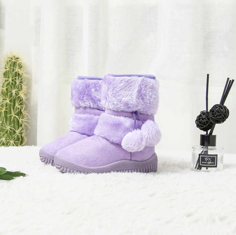 Meisjes Laarzen Winter Kinderen Schoenen Warm Katoen Pluche Binnenkant Kinderen Snowboots Anti-gladde Haarbal Hanger Leuke Laarzen