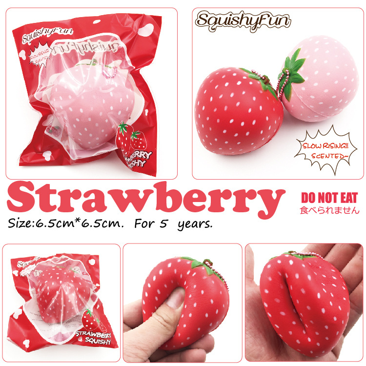 8cm Big Squishy Slow Rising Jumbo Toy Lanyard Squishy Slow Rising Strawberry Squeeze Lanyard For Keys Groot Phone Strap