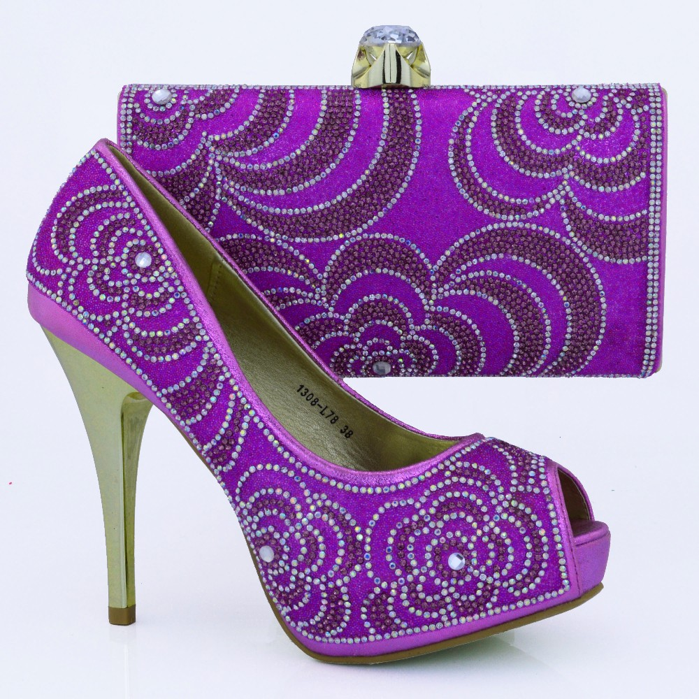 ФОТО Purple African Shoe And Bag Set For Party In Women Shoe And Bag To Match For Parties Ladies Shoe And Matching Bag Set 1308-L78