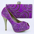 Purple African Shoe And Bag Set For Party In Women Shoe And Bag To Match For Parties Ladies Shoe And Matching Bag Set 1308-L78