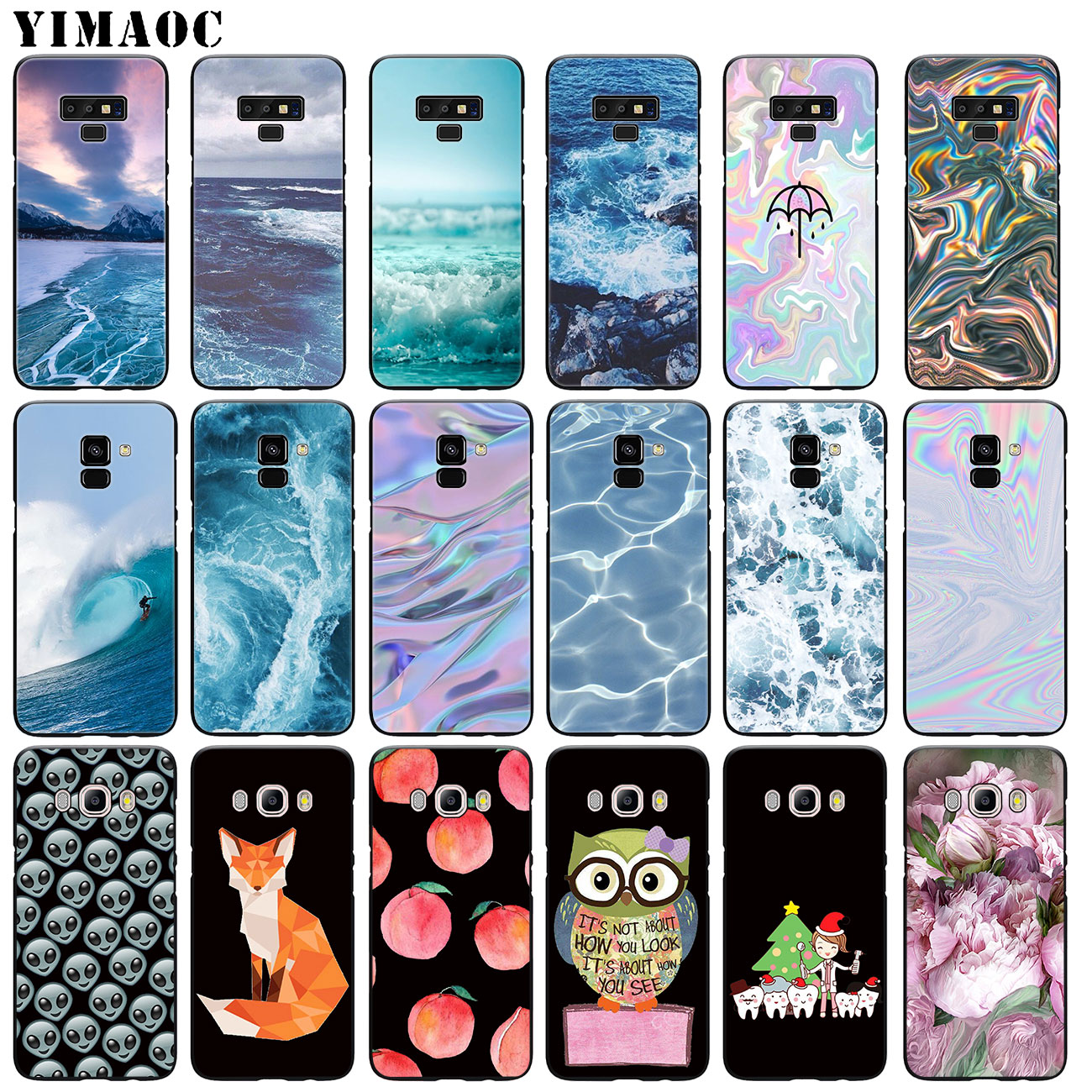 YIMAOC The waves Ocean water Soft Silicone Case for Samsung Galaxy A6 Plus 2018 A3 A5 2016 2017 Black flower Note 9 8 TPU Cover