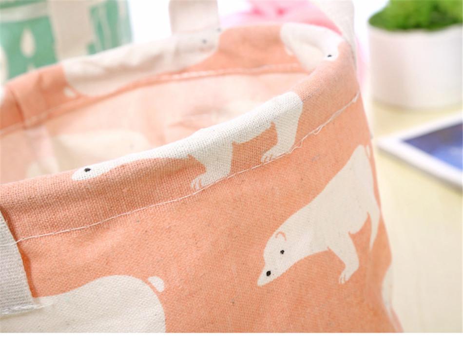 Cute Printing Cotton Linen Desktop Round Storage Organizer Sundries Box Cabinet Underwear Jewelry Cosmetic Stationery Basket (13)