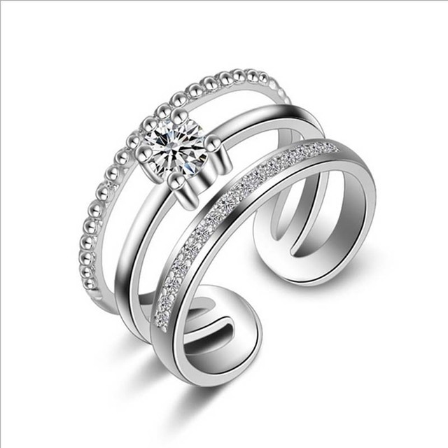 Ring for women spiral prong zircon resizable opening adjustable size