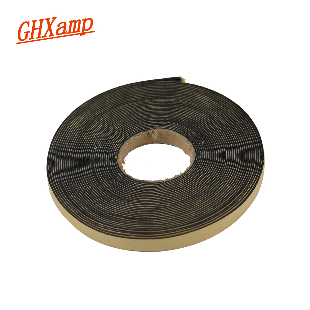GHXAMP 2 Meter 10*1MM EVA Speaker Repair Sealing Strip Loudspeaker Black Single-sided Plastic Shockproof Absorber Gasket Seal