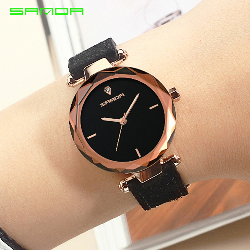 SANDA Genuine Leather Gold Women Watches Ladies Fashion Famous Jewelry Wrist Watch Diamond Female Clock 2018 Reloj Mujer Saat longbo luxury brand fashion quartz watch blue leather strap women wrist watches famous female hodinky clock reloj mujer gift