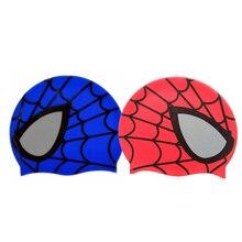 50b19c95d8937 Caliente de silicona niños dibujos animados elásticos Spiderman impreso  gorra de natación rojo azul deportes