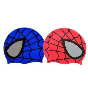 Hot Silicone Children Elastic Cartoon Spiderman Printed Swimming Cap Red/Blue Sports Pool Cute Swim Hat for Kids/Boys/Babys(China)