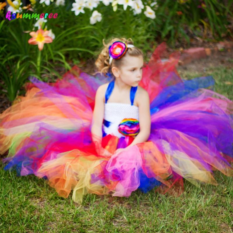 Ksummeree handgemaakte bloemenmeisje jurk pluizige tule tutu jurk met - Kinderkleding