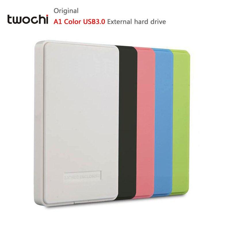 Twochi A1 5 цветов 2.5 ''внешний жесткий диск 120 ГБ/160 ГБ/250 ГБ/320 ГБ/ 500 ГБ USB3.0 Портативный HDD хранения диска plug and play распродажа