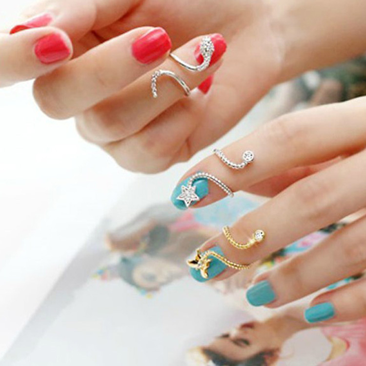 Summer Style Butterfly Snake Starfish Twisted Above Knuckle Finger Nail Ring Girls Fine Jewelry 2 Colors Drop Shipping RING-0036 mariposa en plata anillo
