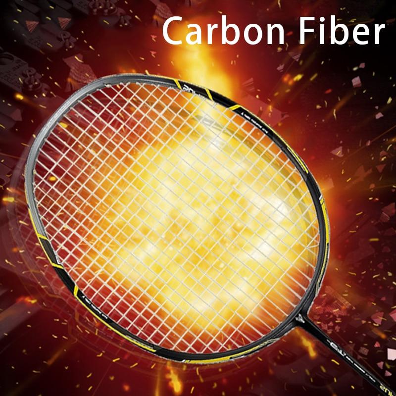 Professional Carvon 4U Badminton Racket Strung Bags Super Light Rackets 28lbs String Sport Z Speed Force Racquet Padel Raket