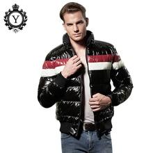 COUTUDI Новый Плюс Размер Зимняя Куртка 2016 Мода Контрастность Цвет Теплый Бренд Парки Короткая Одежда Куртка Блестящие Мужские Пальто