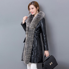 Latest High-grade Women Long PU Coat 2016 Winter Fall Fashion Casual Warm Big Slim Fur Collar Warm Coats B80009