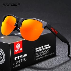 Image 2 - Мужские поляризационные очки KDEAM, спортивные антибликовые солнцезащитные очки в эластичной оправе, уличные очки с чехлом, Happy TR90