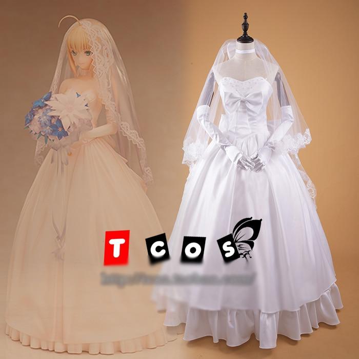 Fate Saber 10th Anniversary Wedding Dress Bride Lolita Dress Cosplay Costume Full set custom made free shipping