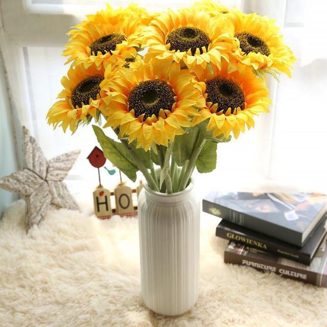 Flores Artificiales De Seda Bonitas Flores De Girasol Falsas Diy - Manualidades-con-flores-artificiales