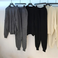 cashmere wool blend women fashion sweatshirts suits casual sweater coat pant 2pcs/set solid color one&over size