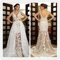 Por encargo romántica boho vestidos de novia 2016 v cuello apliques de encaje sin espalda vestido de novia se casan más tamaño vestidos vestido de festa