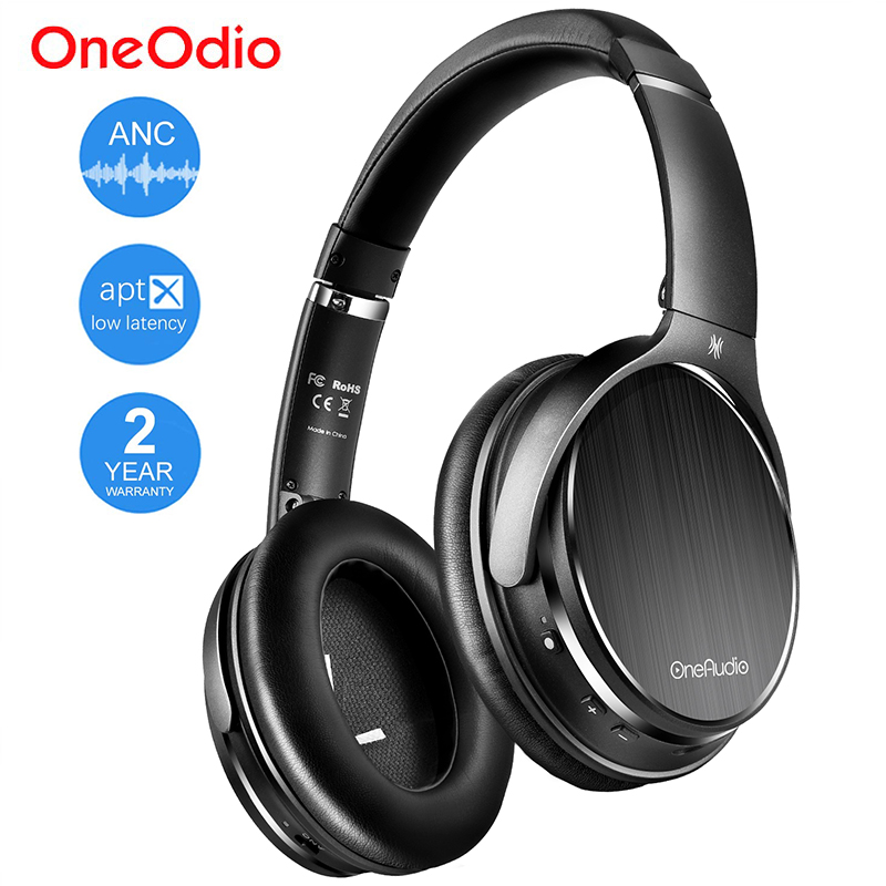 Oneodio Active Noise Cancelling Wireless Bluetooth Headphone With Microphone Apt X Low Latency ANC Headset For