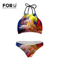 Summer Cute Cloud Womens Bikini Set High Neck Tank Striped Swimsuit Padded Bra High Waist Swimwear