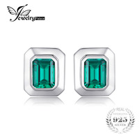 JewelryPalace Created Emerald Vintage Cufflinks For Men 925 Solid Sterling Sliver Unique Emerald Cut Fashion Charm