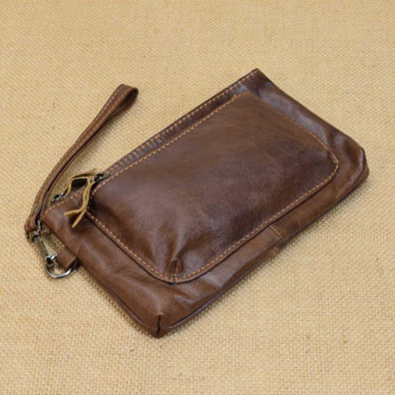 e57476ead87a Мужской кошелек из натуральной кожи мужские клатчи сумка мужские сумки  мобильный телефон сумка денежный кошелек высокого