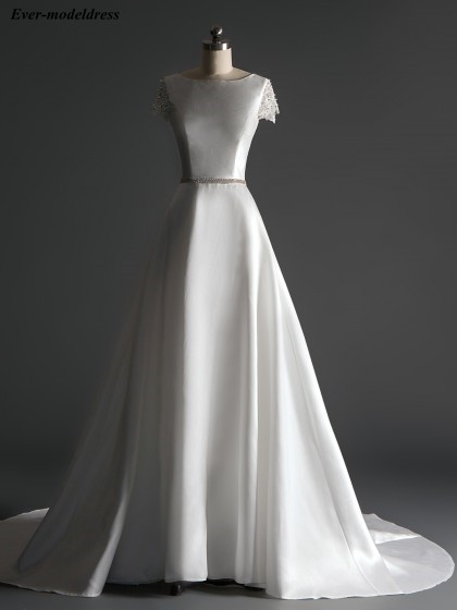 Elegant Satin Wedding Dresses Sexy Open Back Cap Sleeves Beaded Pearls Sweep Train A-Line Simple Bridal Gowns Robe De Mariee