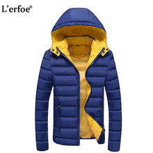 L'erfoe Winter Thick Padded Parka Men Jacket Coat Wadded Long Hooded Casual Warm Snow Windbreaker Overcoat Male Jackets