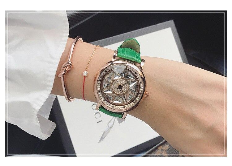 de Cristal de Couro Real Assista zegarek damski