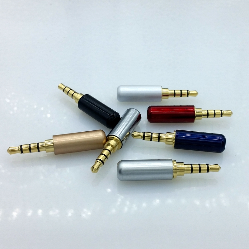 4pin 3.5mm Audio Gold-Plated headphone plug 3.5 RCA Connectors jack Connector plug jack Stereo Headset Dual Track 7pcs areyourshop rca plug jack gold plated audio adapter connector blue 1 4pcs copper carbon fiber high quality rca connector