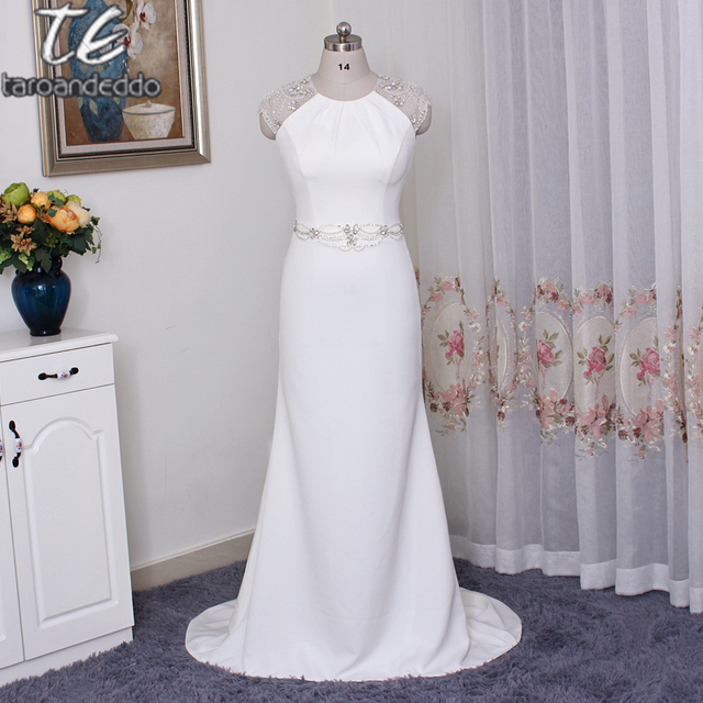 Cap Sleeved Crepe Sheath Wedding Dress Jp341608 Highly Embellished Sleeves Back Keyhole And Waistband Bridal