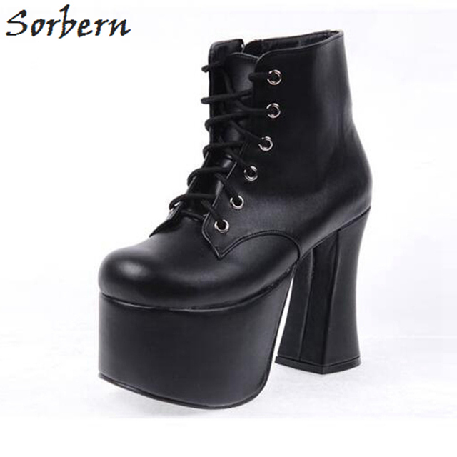 fd959a93d21e Sorbern Fashion Lolita Boots For Women Cospunk Round Toe Chunky Heels  Platform Shoes Plus Size Booties 2018 Woman Multi Color