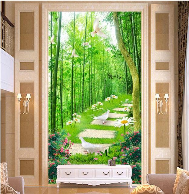 3d tapete für wohnzimmer Moderne 3D bambus blumen und bäumen pfad ...