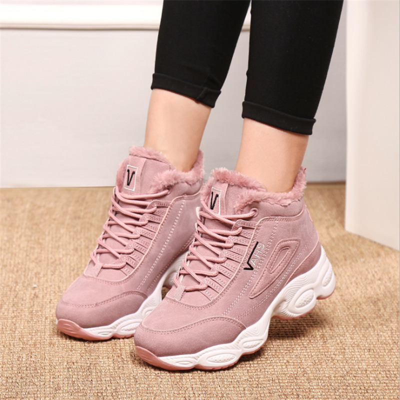 2018 sports shoes women's  winter cotton shoes warm sports outdoor running shoes high quality non-slip waterproof sneakers