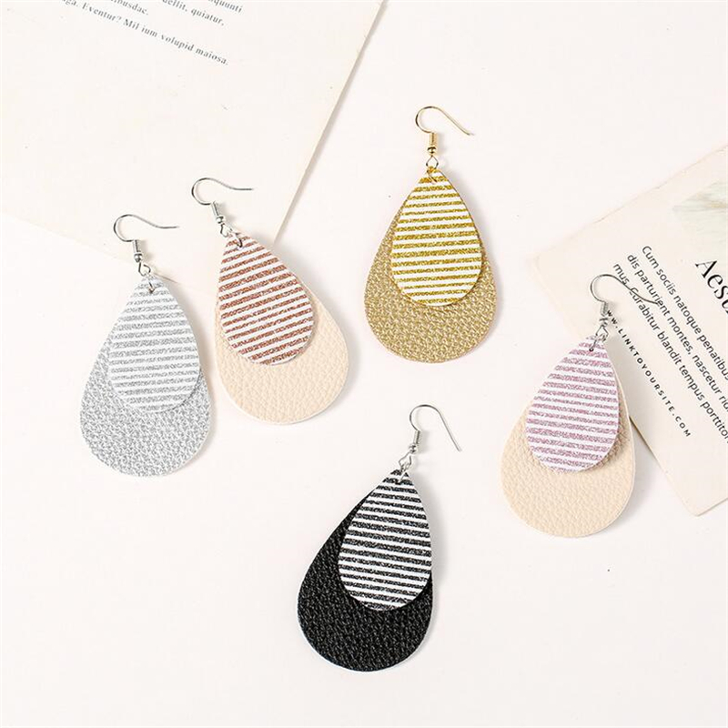 new arrival leather teardrop earrings for women multilayer stripe dangle earrings lightweight statement fashion jewelry gifts in Drop Earrings from Jewelry Accessories