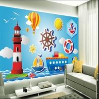 beibehang wall paper fashion modern simple picture lighthouse hot balloon cartoon kids room backdrop papel de parede wallpaper