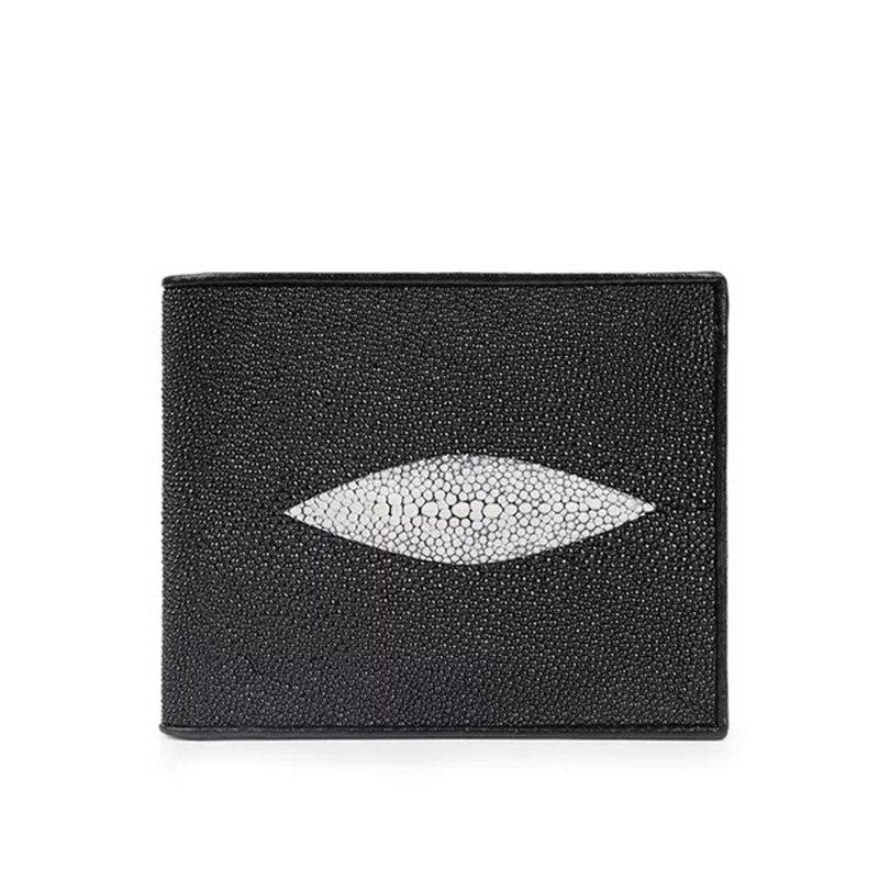 Classical Black White Designer Unisex Style Men s Short Card Wallet Exotic Genuine Stingray Skin Zipper