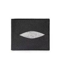 Classical Black White Designer Unisex Style Men's Short Card Wallet Exotic Genuine Stingray Skin Zipper Pocket Wallet For Man