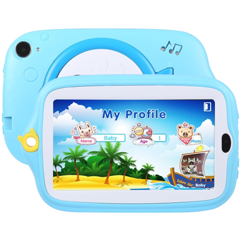 7.0 inch Tablet PC Kids Education 8GB Android 4.4 Allwinner A33 Quad Core WiFi Bluetooth with Holder Silicone Case(Blue)+32GBTF