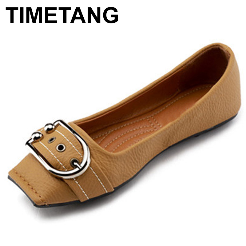 TIMETANG spring & summer new square head retro cowboy shoes leather soft leather shoes comfortable pregnant women flat shoesC151